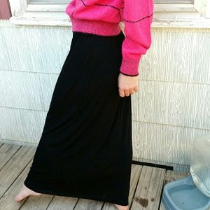 Slinky black maxi skirt vintage acetate stretchy